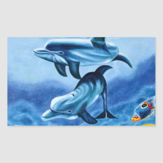 Dolphins and Tropical Fish Art Rectangular Sticker