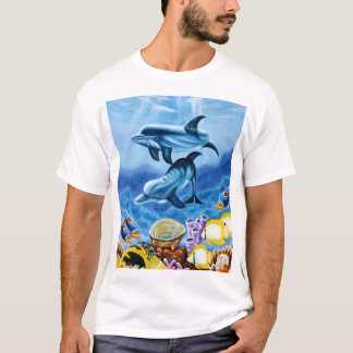 Dolphins and Tropical Fish Art T-Shirt