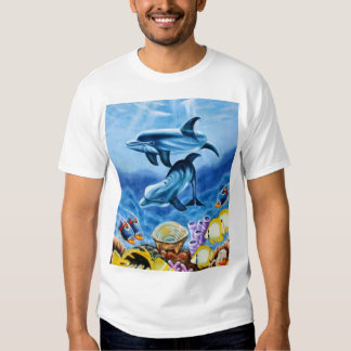 Dolphins and Tropical Fish Art Tee Shirt