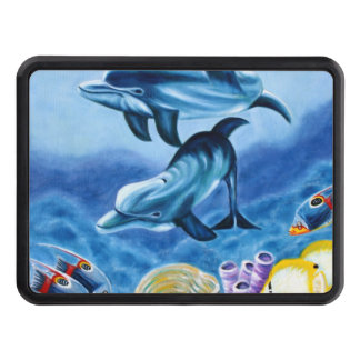 Dolphins and Tropical Fish Art Tow Hitch Cover