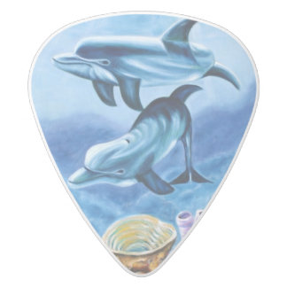 Dolphins and Tropical Fish Art White Delrin Guitar Pick
