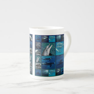 Dolphins And Whales Collage Tea Cup