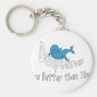 Dolphins Are Better Than You (clear text) Basic Round Button Keychain