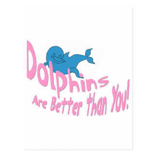 Dolphins Are Better Than You (pink text) Postcard