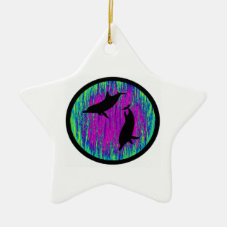 DOLPHINS ARE SPECTACULAR Double-Sided STAR CERAMIC CHRISTMAS ORNAMENT