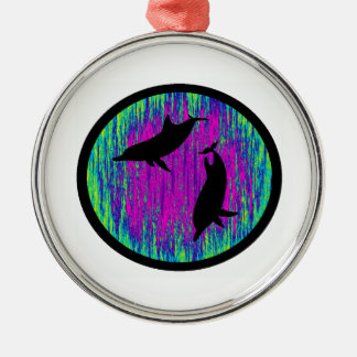 DOLPHINS ARE SPECTACULAR ROUND METAL CHRISTMAS ORNAMENT