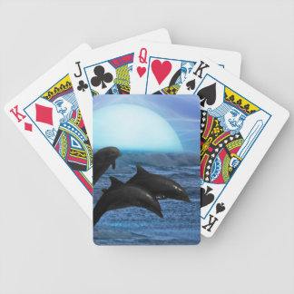 Dolphins at moonlight bicycle card deck