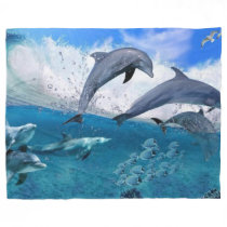 DOLPHINS at PLAY Fleece Blanket