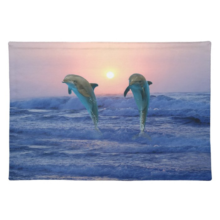 Dolphins at sunrise cloth placemat