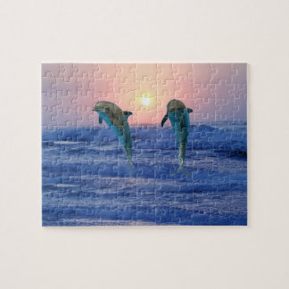 Dolphins at sunrise jigsaw puzzle