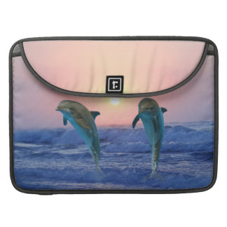 Dolphins at sunrise MacBook pro sleeve