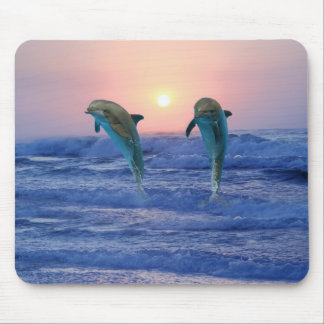 Dolphins at sunrise mouse pad