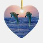 Dolphins at sunrise Double-Sided heart ceramic christmas ornament
