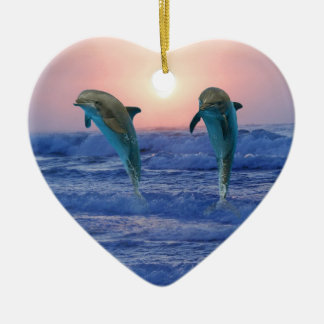 Dolphins at sunrise christmas tree ornaments