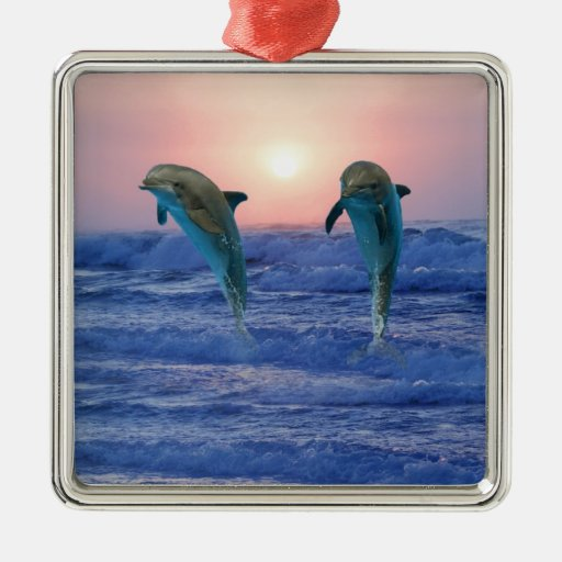Dolphins at sunrise square metal christmas ornament