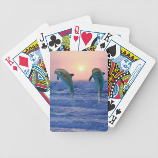 Dolphins at sunrise playing cards