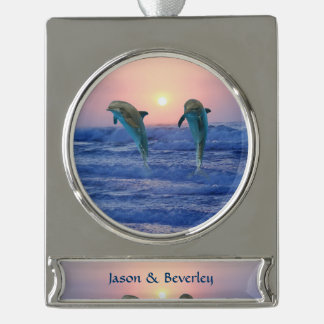 Dolphins at sunrise silver plated banner ornament