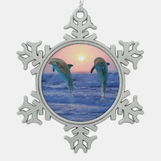 Dolphins at sunrise snowflake pewter christmas ornament