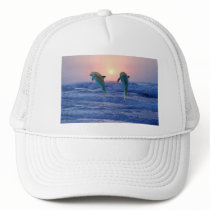 Dolphins at sunrise trucker hat