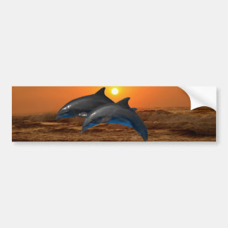 Dolphins at sunset bumper sticker