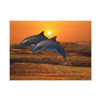 Dolphins at sunset canvas print