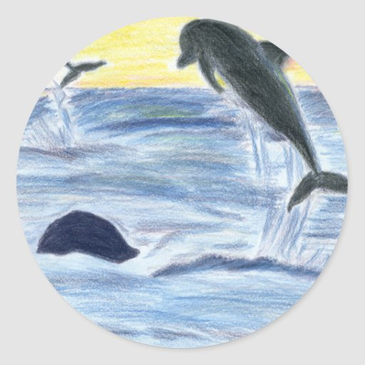 Dolphins at Sunset Classic Round Sticker
