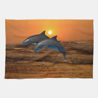 Dolphins at sunset hand towels