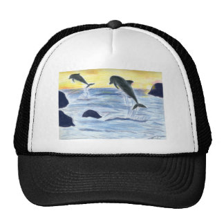 Dolphins at Sunset Trucker Hats