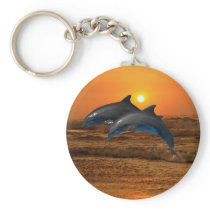 Dolphins at sunset keychain