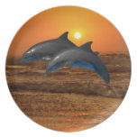 Dolphins at sunset melamine plate