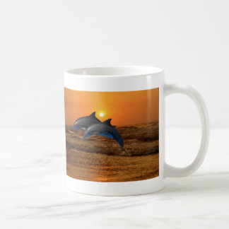 Dolphins at sunset mugs