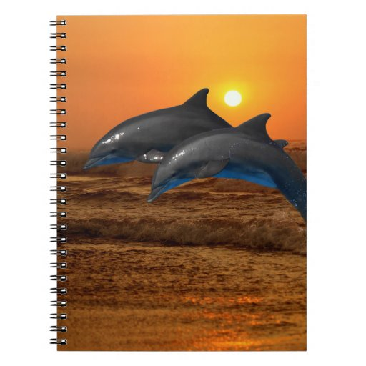 Dolphins at sunset spiral notebook