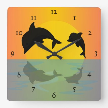 dolphins at sunset square wallclock