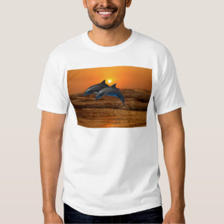 Dolphins at sunset t shirts