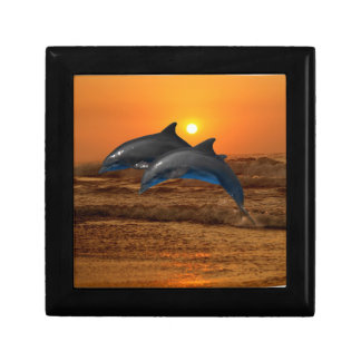 Dolphins at sunset trinket boxes