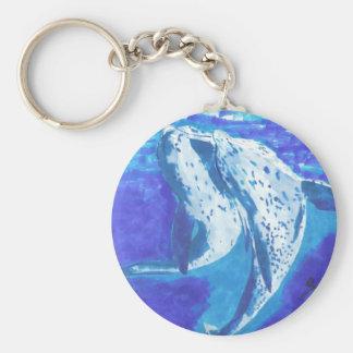 Dolphins Basic Round Button Keychain