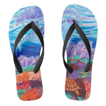 Beach Themed Dolphins Beach underwater tropical Sea Turtle Flip Flops