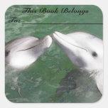 Dolphins Book Label Square Sticker