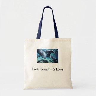 dolphins-bottlenose Live Laugh Love Canvas Bags