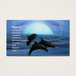 Dolphins by moonlight business card