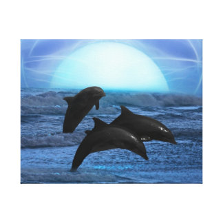 Dolphins by moonlight gallery wrapped canvas