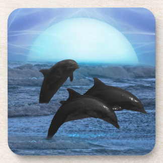 Dolphins by moonlight drink coaster