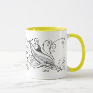 `Dolphins Charcoal II' Ringer Mug