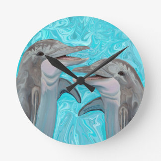 Dolphin's Chatter Round Clocks