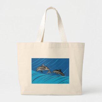 dolphins-color large tote bag