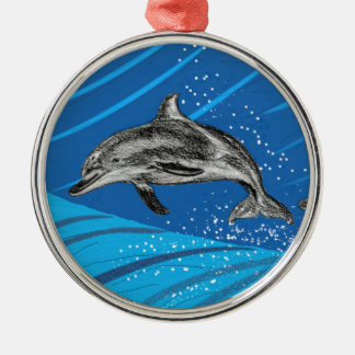 dolphins-color metal ornament