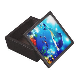 Dolphins & Colorful Sea-Life Digital Illustration Jewelry Box