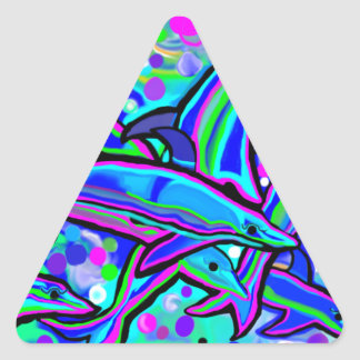 dolphin's 'dancing' in underwater bubbles triangle sticker