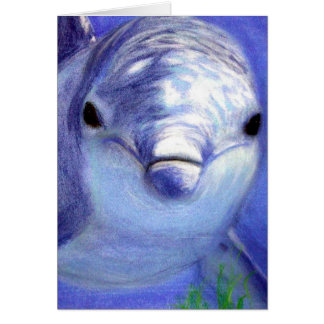 Dolphins Drawing Blue Dolphin Underwater Picture Greeting Card