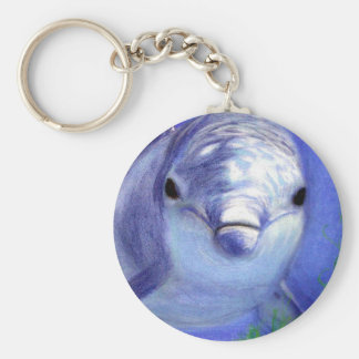 Dolphins Drawing Blue Dolphin Underwater Picture Keychain